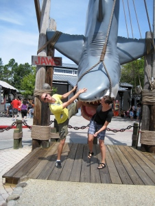 getting eaten in front of the famous JAWS ride